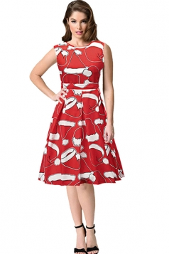 Womens Sleeveless High Waist Printed Christmas Flared A-Line Dress Red