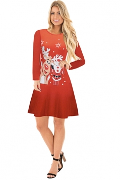 Womens Crew Neck Long Sleeve Reindeer Printed Christmas Dress Coral