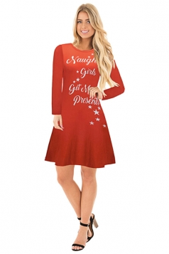 Womens Crew Neck Long Sleeve Printed Merry Christmas Dress Red