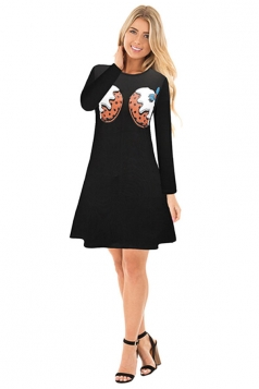 Womens Crew Neck Long Sleeve Loose Printed Christmas Dress Black
