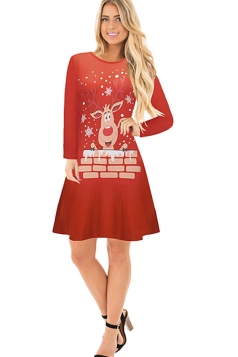 Womens Crew Neck Long Sleeve Reindeer Printed Christmas Dress Dark Red