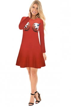 Womens Crew Neck Long Sleeve Loose Printed Christmas Dress Red
