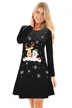 Crew Neck Long Sleeve Reindeer Santa Printed Christmas Dress Black