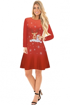 Crew Neck Long Sleeve Reindeer Santa Printed Christmas Dress Coral