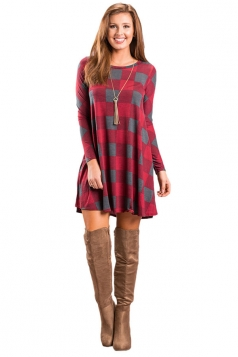 Womens Casual Crew Neck Plaid Color Block Long Sleeve Dress Dark Red