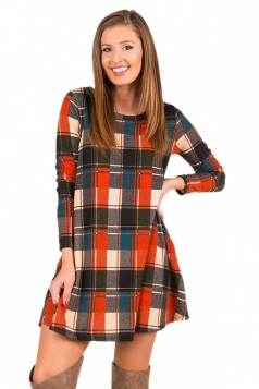 Womens Casual Crew Neck Plaid Color Block Long Sleeve Dress Orange