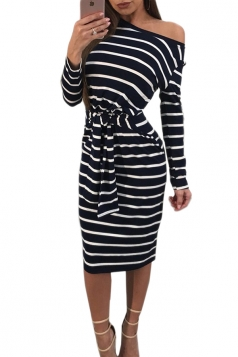 Womens One Shoulder Long Sleeve Cross Strip Midi Dress Black And White