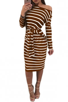 Womens One Shoulder Long Sleeve Cross Strip Bandage Midi Dress Coffee