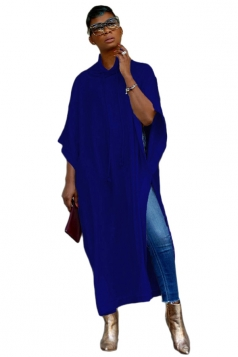 Womens Casual High Collar Half Sleeve High Slit Loose Maxi Dress Blue