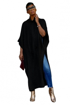 Womens Casual Drawstring High Collar High Slit Loose Maxi Dress Black