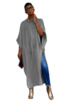 Womens Casual High Collar Half Sleeve High Slit Loose Maxi Dress Gray
