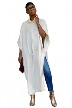 Womens Casual Drawstring High Collar High Slit Loose Maxi Dress White
