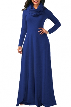 Womens Casual Cowl Neck Long Sleeve Loose Cotton Plain Maxi Dress Blue