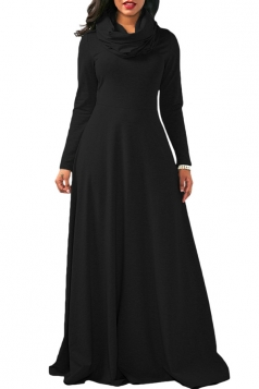 Womens Casual Cowl Neck Long Sleeve Loose Cotton Plain Maxi Dress Black