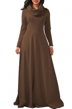 Womens Cowl Neck High Waisted Long Sleeve Plain Maxi Dress Brown