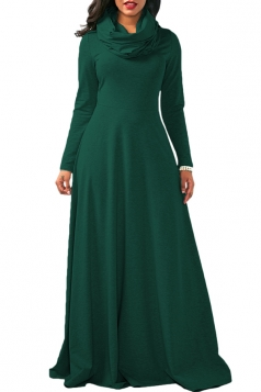 Womens Cowl Neck High Waisted Long Sleeve Plain Maxi Dress Dark Green