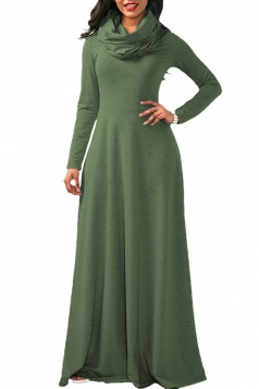 Womens Casual Cowl Neck Long Sleeve Loose Cotton Plain Maxi Dress Green