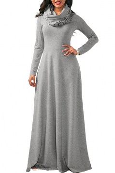 Womens Casual Cowl Neck Long Sleeve Loose Cotton Plain Maxi Dress Gray