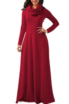 Womens Casual Cowl Neck Long Sleeve Loose Cotton Plain Maxi Dress Red