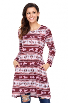 Crew Neck Dip Hem Snowflake Reindeer Printed Christmas Dress Ruby