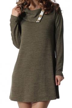 Women Turndown Collar Button Design Loose Long Sleeve Dress Army Green