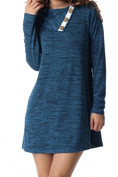 Womens Turndown Collar Button Design Loose Long Sleeve Dress Blue