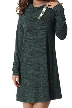 Womens Turndown Collar Button Design Loose Long Sleeve Dress Green