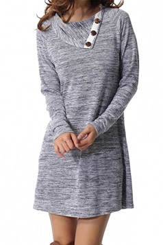 Womens Turndown Collar Button Design Loose Long Sleeve Dress Gray