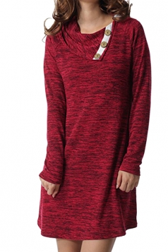 Womens Turndown Collar Button Design Loose Long Sleeve Dress Ruby
