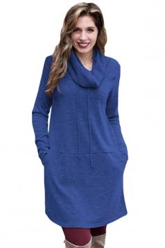 Womens Drawstring Cowl Neck Pocket Sweatshirt Long Sleeve Dress Blue