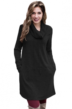 Womens Drawstring Cowl Neck Pocket Sweatshirt Long Sleeve Dress Black
