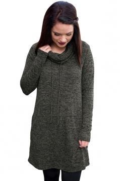 Womens Drawstring Cowl Neck Pocket Sweatshirt Long Sleeve Dress Gray