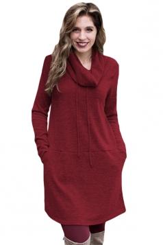 Womens Drawstring Cowl Neck Pocket Sweatshirt Long Sleeve Dress Ruby