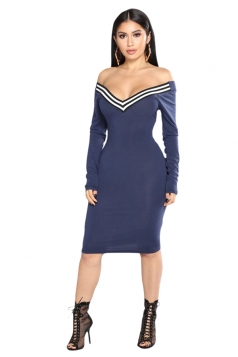 Womens Sexy Off Shoulder V-Neck Long Sleeve Striped Bodycon Dress Blue