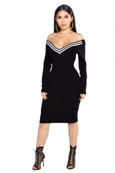 Womens Off Shoulder V-Neck Long Sleeve Striped Bodycon Dress Black