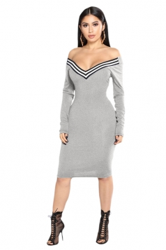 Womens Sexy Off Shoulder V-Neck Long Sleeve Striped Bodycon Dress Gray