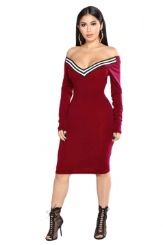 Womens Sexy Off Shoulder V-Neck Long Sleeve Striped Bodycon Dress Red