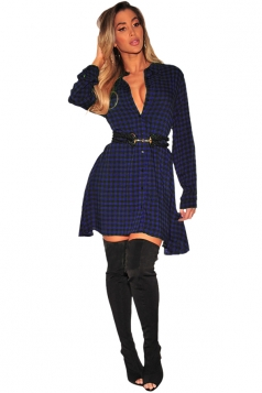 Womens Sexy V-Neck Long Sleeve Button Plaid Shirt Dress Blue