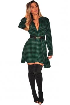 Womens Sexy V-Neck Long Sleeve Button Plaid Shirt Dress Green