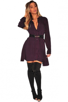 Womens Sexy V-Neck Long Sleeve Button Plaid Shirt Dress Purple