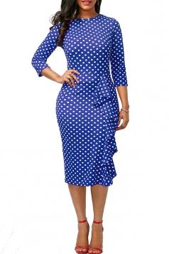 Womens Crew Neck Polka Dot Printed Ruffled Bodycon Midi Dress Blue