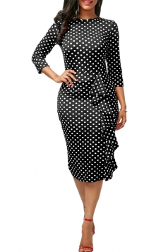 Womens Crew Neck Polka Dot Printed Ruffled Bodycon Midi Dress Black