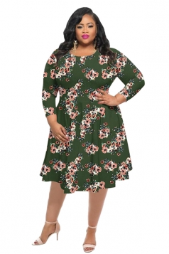 Womens Vintage Crew Neck Flower Printed Plus Size Dress Army Green