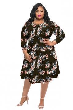 Womens Vintage Crew Neck Flower Printed Plus Size Dress Coffee