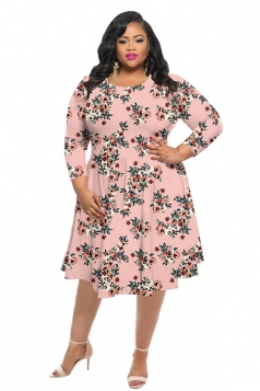 Womens Vintage Crew Neck Flower Printed Plus Size Dress Pink