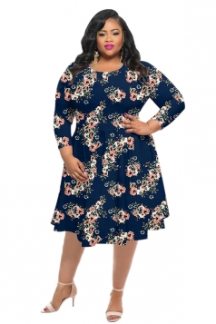 Womens Vintage Crew Neck Flower Printed Plus Size Dress Sapphire Blue