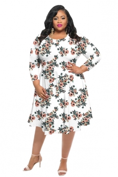 Womens Vintage Crew Neck Flower Printed Plus Size Dress White