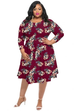 Womens Vintage Crew Neck Flower Printed Plus Size Dress Ruby