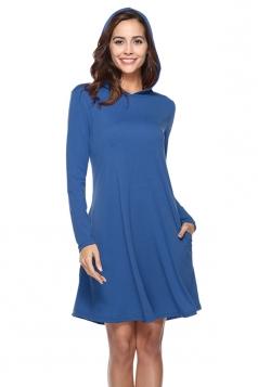 Womens Casual Hooded Long Sleeve Midi Plain Dress Blue