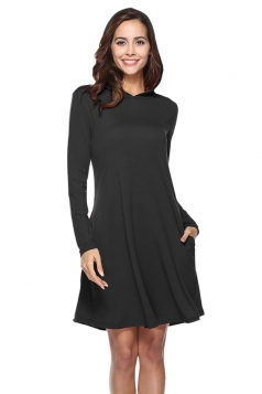 Womens Casual Hooded Long Sleeve Midi Plain Dress Black